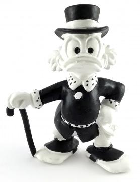 Dagobert Duck mit Stock BULLY Figur schwarz-weiß