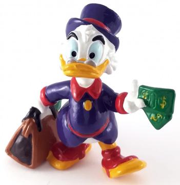 Dagobert Duck mit Tasche und Geldscheinen BULLY Kleinfigur