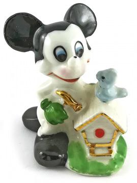 Micky Maus mit Vogelhaus Porzellanfigur