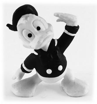 Donald Duck grüssend DISNEY STORE Kleinfigur schwarz-weiß
