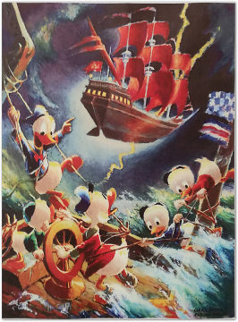 Carl Barks: Afoul of the Flying Dutchman Preliminary Sketch Canvas-Druck