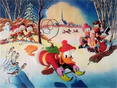 Carl Barks: Snow Fun Canvas-Druck (62x46cm/24x18)