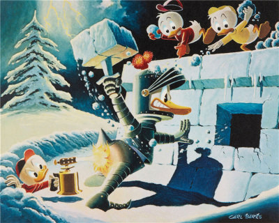 Carl Barks: A Hot Defense Canvas-Druck