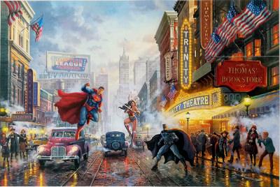 Batman, Superman, and Wonder Woman: The Trinity I THOMAS KINKADE Canvas-Druck 30x20cm/12x8
