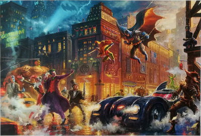 The Dark Knight Saves Gotham City THOMAS KINKADE Canvas-Druck 46x30cm/18x12