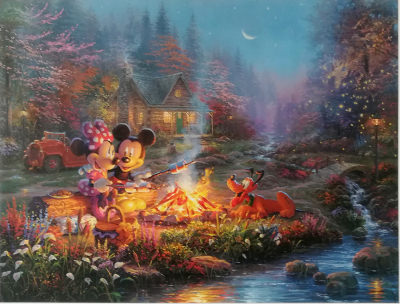 Mickey and Minnie - Sweetheart Campfire THOMAS KINKADE Canvas-Druck 46x30cm (18x12)