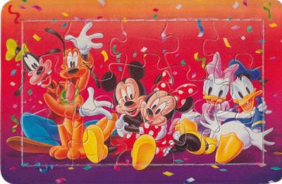 Puzzle-Postkarte Micky und Freunde Party