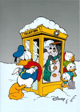 Weihnachtskarte Donald und Neffen Telefonzellen-Schneemann
