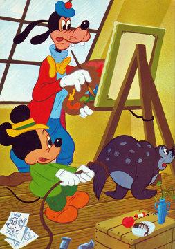 Postkarte In Goofys Atelier mit Micky uns Seehund