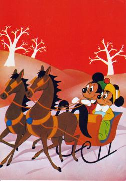 Postkarte Schlittenfahrt mit Micky und Minni