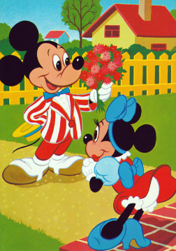 Postkarte Micky mit Blumenstrauß für Minni