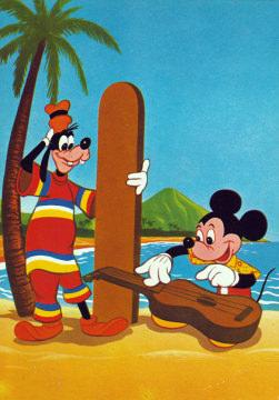 Postkarte Goofy und Micky auf Hawaii