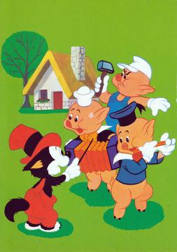 Postkarte Drei kleine Schweinchen mit Dirigent Kleiner Böser Wolf