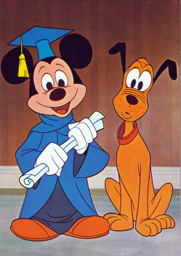 Postkarte Scholar Micky mit Pluto
