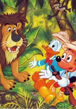 Postkarte Donald und Micky auf Löwenjagd