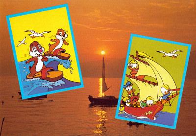 Postkarte Gruß vom Wasser mit Backenhörnchen und den Ducks