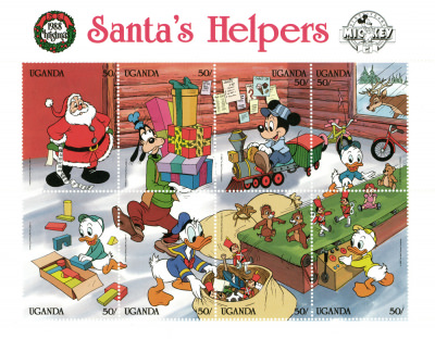Briefmarkenblock Disney Santas Helpers 8er-Block / Uganda 1988