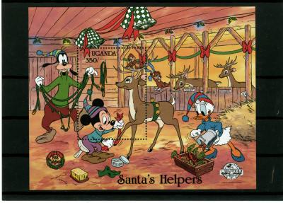 Briefmarkenblock Disney Santas Helpers Micky, Donald, Goofy, Backenhörnchen / Uganda 1988