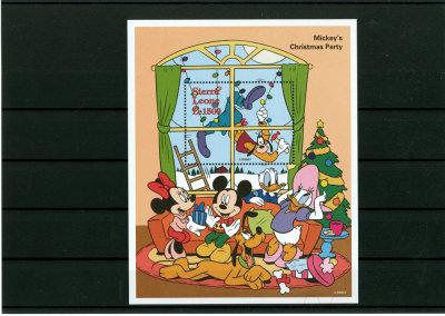 Disney Briefmarkenblock Mickeys Christmas Party / Sierra Leone