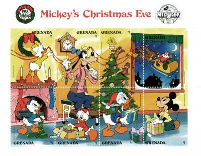 Briefmarkenblock Disney Mickeys Christmas Eve / Grenada 1988