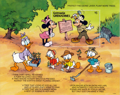 Briefmarkenblock Disney Protect the Ozone Layer, Plant More Trees / Grenada