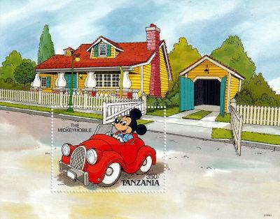 Briefmarkenblock Disney The Mickeymobile / Tanzania