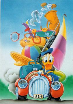 Postkarte Donald auf Strandtour