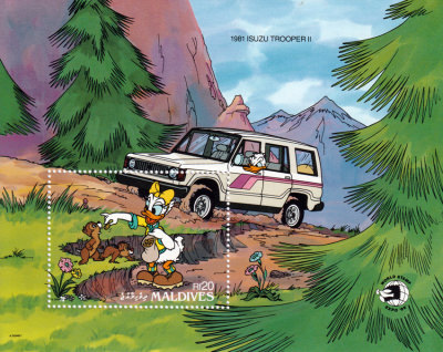 Briefmarkenblock Disney 1981 Isuzu Trooper II / Malediven