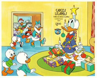 Briefmarkenblock Disney Christmas 1984 Weihnachtsbescherung bei den Ducks / Caicos Islands