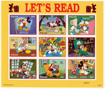 Briefmarkenblock Disney Lets Read / Palau 1997