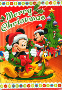 Weihnachtskarte Merry Christmas Micky, Minni, Pluto