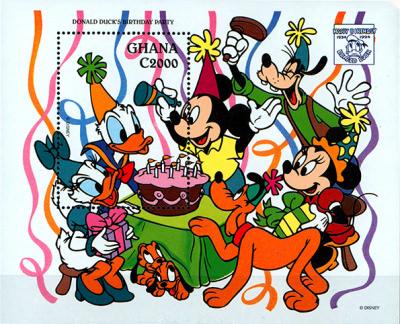 Briefmarkenblock Disney Donald Ducks Birthday Party / Ghana 1994
