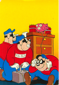 Postkarte Panzerknacker Sparschweinsprengung