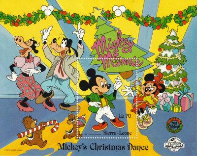 Briefmarkenblock Disney Mickyes Christmas Dance / Sierra Leone 1988