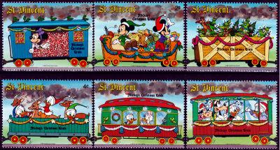 Briefmarkenteilsatz Mickys Christmas Train 6 Werte / St. Vincent 1988