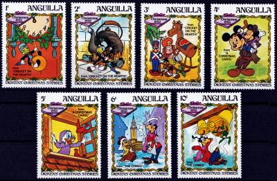 Briefmarkenteilsatz Christmas 1983 – Dickens Christmas Stories 7 Werte / Anguilla 1983