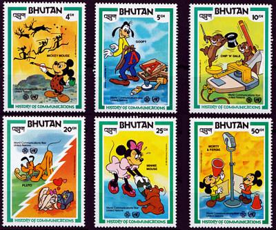 Briefmarkenteilsatz History of Communications 6 Werte / Bhutan 1984