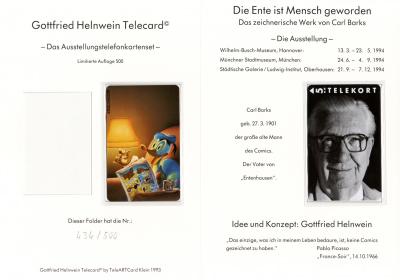 Telefonkarten-Mappe Die Ente ist Mensch geworden Gottfried Helnwein