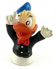 Fingerpuppe Donald Duck in schwarzer Jacke
