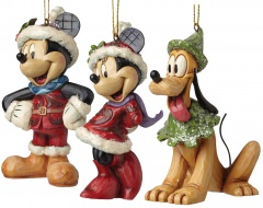 Sugar Coated Mickey / Minnie / Pluto Hanging Ornaments (Set of 3)