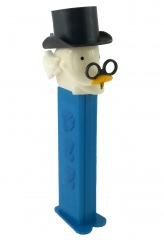 PEZ Spender Dagobert Duck mit Zwicker (Variante: kleine runde Pupillen)