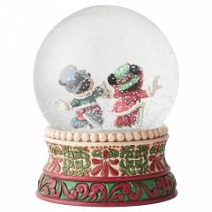 Viktorianische Micky & Minni Maus: Prächtige Eisläufer Schneekugel