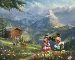 Micky und Minni in den Alpen Canvas-Druck