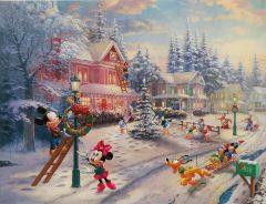 Micky und Freunde: Winterliche Straßenszene. Canvas-Druck (41x30cm/16x12)