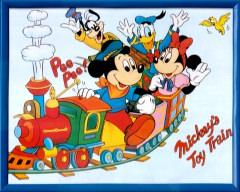 Bild Mickeys Toy Train mit Rahmen 28x21cm