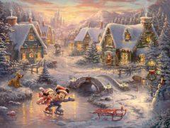 Mickey and Minnie – Sweetheart Holiday THOMAS KINKADE Canvas-Druck 40x30cm/16x12