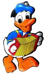 Flachplastik-Relieffigur Donald Duck mit Ziehharmonika 27cm