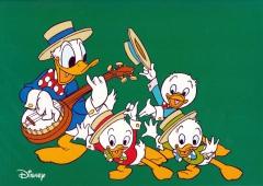 Grußkarte mit Umschlag Donald und Neffen Tanzmusik