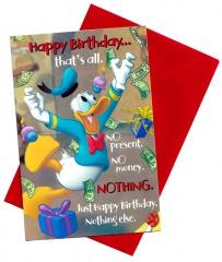Geburtstagskarte Donald Duck Happy Birthday… thats all mit Umschlag (rot)