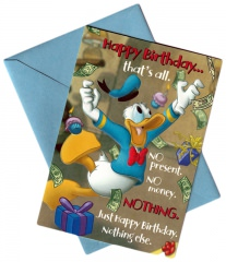 Birthday Card Donald Duck Happy Birthday… thats all with envelope (blue) relief surface.